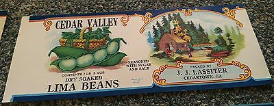 CEDAR VALLEY POLE BEANS Can Label original scarce old 1920/'S Cedartown,Georgia