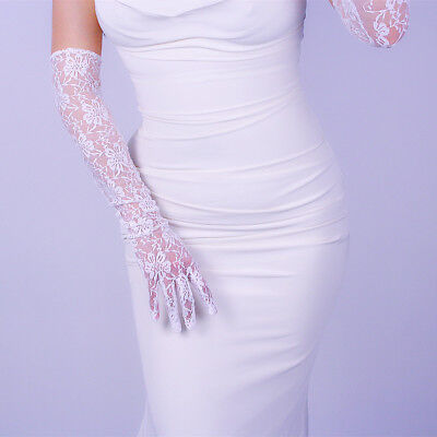 Lace Gloves Extra Long Stretch Tulle Mesh Semi Sheer Touchscreen Wedding White