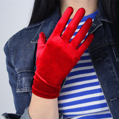 Velvet Gloves Opera Elbow Long Wrist Short Elastic Stretchy Red Touchscreen