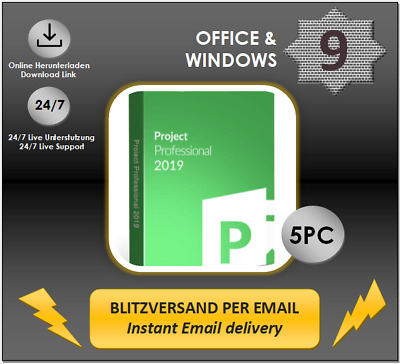 MS Project 2019 Professional, 1/2/3/4/5 PC, 32&64 Bits, Produktkey per E-Mail