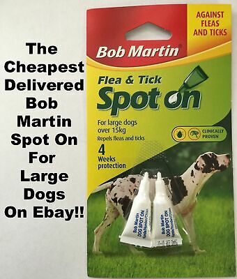 BOB MARTIN SPOT ON Flea And Tick Treatment LARGE DOGS Over 15kg new 2x