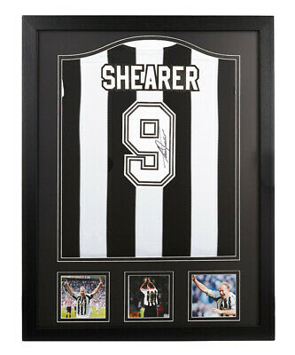 Framed Alan Shearer Signed Newcastle United 9 Shirt Football See Proof & Coa