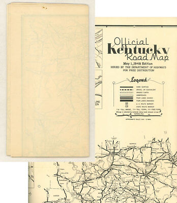 1948 KENTUCKY OFFICIAL Road Map (Blank Back) from State Highway ...