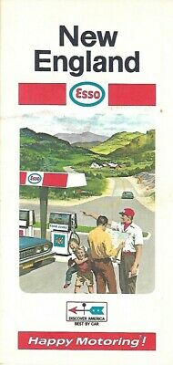 1969 ESSO HUMBLE OIL Road Map NEW ENGLAND Massachusetts Connecticut Maine Boston