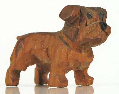 Antique Folk Art Hand Carved Wood Miniature Bull Dog Figurine Terrier Toy Group