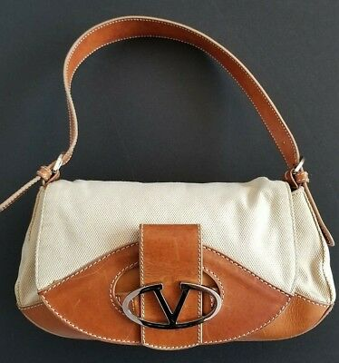 VALENTINO Brown Nappa Leather Off White Woven Canvas V Logo Buckle Baguette  Bag 5a103b0ad081b