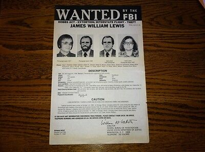 *1982 Chicago Tylenol Murders* James William Lewis Fbi Wanted Poster *Pls Offer*