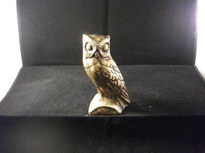 Antique Vintage Solid Brass Owl Figure Study Heavy
