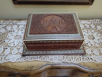 Large Old Anglo Indian Carved Taj Mahal Sandlewood Box With Mosaic Inlays