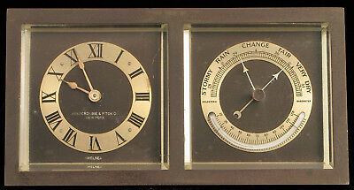 Antique Chelsea Art Deco Square Desk Clock Barometer Abercrombie Fitch New York