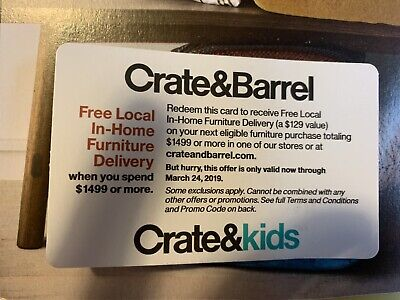 crate and barrel coupon discount promo furniture delivery