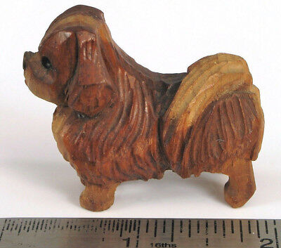 Antique Folk Art Hand Carved Wood Miniature Dog Figurine Japanese Chin Shitzu ?