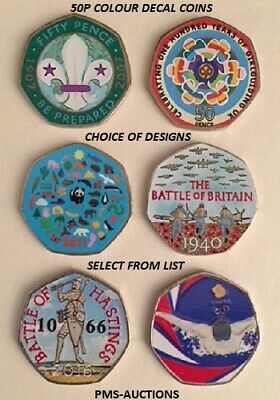 50P FIFTY PENCE COLOUR DECAL COIN STICKERS Scouts Guides WWF Britain Hastings GB