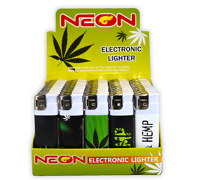 50 Plant Art Full Size Electronic NEON Disposable Lighters, All Purpose