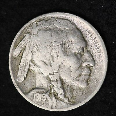 1919-D Buffalo Nickel G / VG FREE SHIPPING