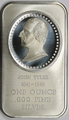 John Tyler 1841-1845 Madison Mint .999 Fine Silver Art Bar 1 Troy oz