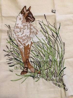 Completed Crewel Embroidery Vintage Siamese Cat Butterfly 12 By 16 Inches