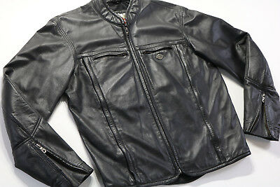 mens harley davidson leather jacket m medium black embossed bar shield vented