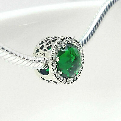 Authentic Pandora Charms 925 ALE Sterling Silver Green Cubic Zircon Crystal Bead