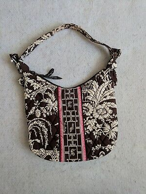 Vera Bradley Imperial Toile Brown White Pink Floral Print Purse Bag Shoulder 0be09002d7fca
