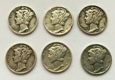 Lot Of 6 Silver Mercury Dime 1940,1941 D,1942,1943 S,1944 S And 1945 Coins