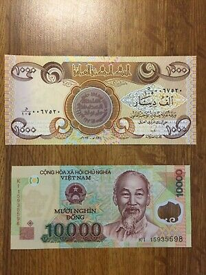IRAQ 1000 IRAQI DINAR  plus 10,000 Vietnam Dong (2 notes total) Free USPS ship