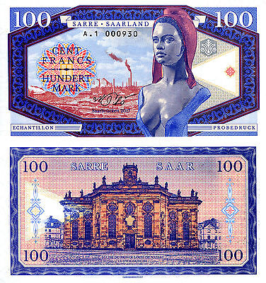SAAR (SARRE) 100 Francs Fun-Fantasy Note 2017 Issue Woman Church Limited issue