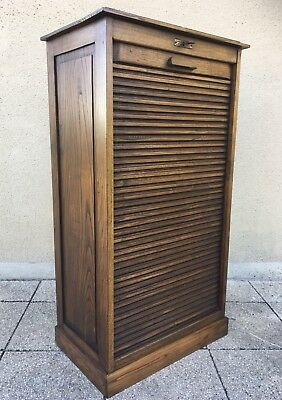 Antique French Filing Cabinet Tambour Roller Shutter Delivery Available