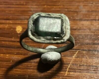 Early Medieval Decorated Bronze Finger Ring With Green Glass Insert