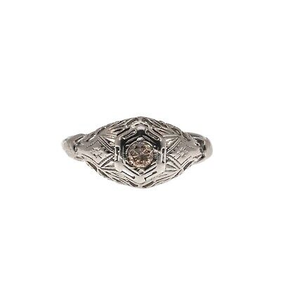Roses & Lace - Vintage 10K Natural Fancy Pink Diamond Filigree Ring