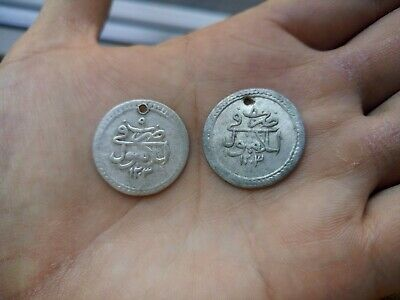Two Old Islamic Turkish Silver Coins. 1203-8, 9 years.