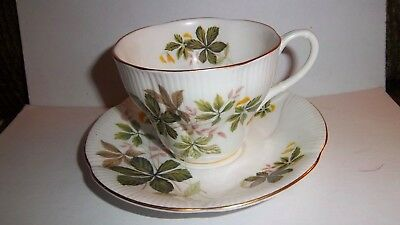 Vintage Royal Albert Bone China Green Leaf Design Cup And Saucer Made In England