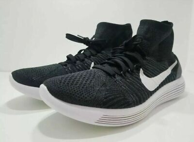5c5ef1a682d Nike Lunarepic Flyknit Running Shoes Men s Black White Volt 818676 007 Size  12