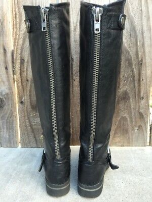 12c309a24f6 BLACK LEATHER STEVE Madden Girl Rear Zip Tall Riding Boots Size 6 /6.5  LENOXXX