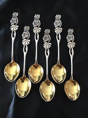 Rare Vintage Finnish 813 Silver Rose Tea Spoons Flower Demitasse Set Sterling