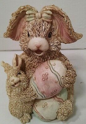 "K's Collection Easter Bunny Rabbit Resin Figurine W/Baby & Giant Eggs 5"" Tall"