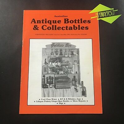 AUSTRALIAN ANTIQUE BOTTLES & COLLECTABLES MAGAZINE Vol.1 No.5 1991 WHISKEY JUGS