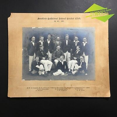 Antique 1931 1St Xl Hereford Cathedral School Cricket Club Team Photograph