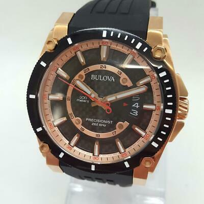 Bulova Precisionist 98G152 - Rose Gold - Black Strap - Date - Carbon (HE2015780)