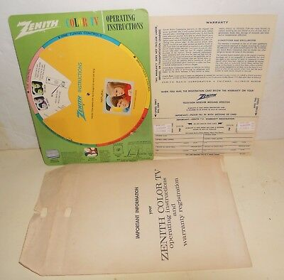 Vintage Zenith Color TV Operating Instructions SPIN Wheel W/ Mailer 1950's