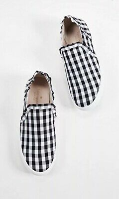 1742b8a325d9 NEW Kate Spade Lilly Slip On Ruffle Sneakers Black White Gingham Women s Sz  6.5