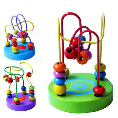 Educational Wooden Toys Baby Kids Game Colorful Mini Around Beads Wire Maze G