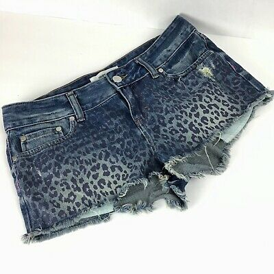 dafacf52ad1f PINK Victorias Secret Womens 4 Shorts Denim Jean Cheetah Leopard Mid Rise  Cutoff