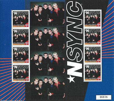 RARE 1999 NSync St. Vincent Stamps Sheet Of 8 Justin Timberlake Lance Bass JC