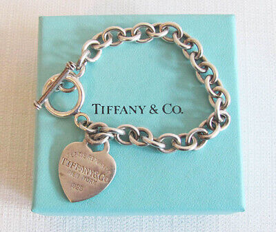 e52268404 Authentic TIFFANY & CO Sterling Silver Heart Tag Toggle Bracelet With Box