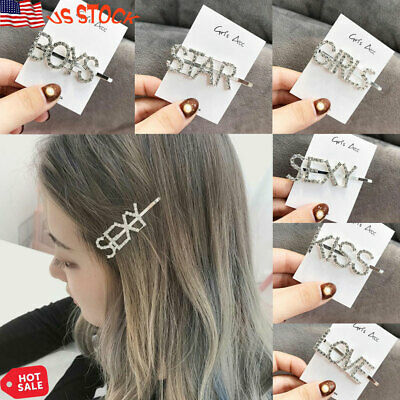 Girls' Accessories Diamante Words Letters Hair Clip Hairpin Slide Grips Jewellery Girls Womens Be Friendly In Use