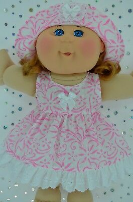 "Play n Wear Doll Clothes For 14"" Cabbage Patch WHITE/PINK FLOWER DRESS~HAT"