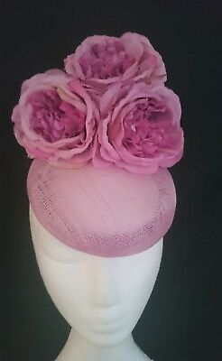 Dusty Pink Mauve Roses Flower Hat Fascinator Races Wedding Melbourne Cup