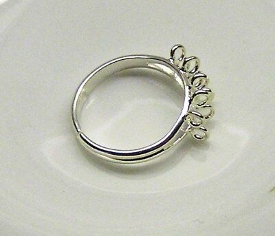 Ring base, silver-plated brass, (10) 3mm loops, adjustable x 3