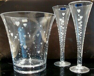 WATERFORD MARQUIS crystal CHAMPAGNE TOASTING GLASSES & ICE BUCKET Mini Hearts